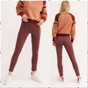 Free People Carnaby Pattern Stretch Pant Red NEW